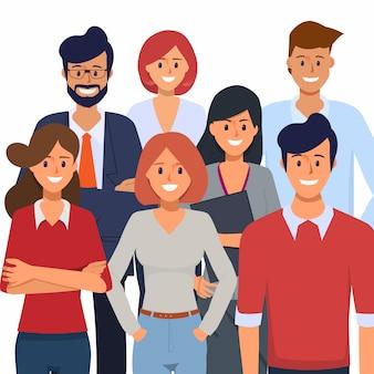 Pessoas de negócios no escritório da organização e caráter de trabalho freelance.