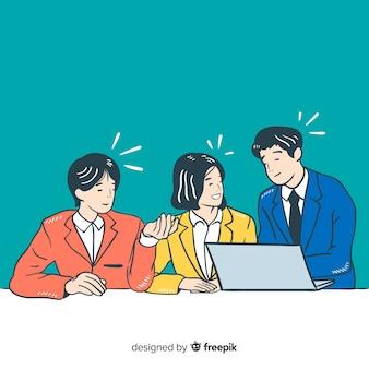 Pessoas de negócios no escritório em estilo de desenho coreano