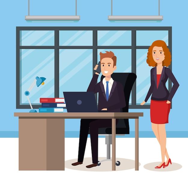 Pessoas de negócios nos avatares isométrica de escritório