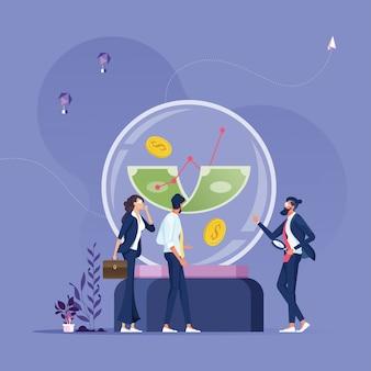 Pessoas de negócios olhando dinheiro em uma bola de cristal