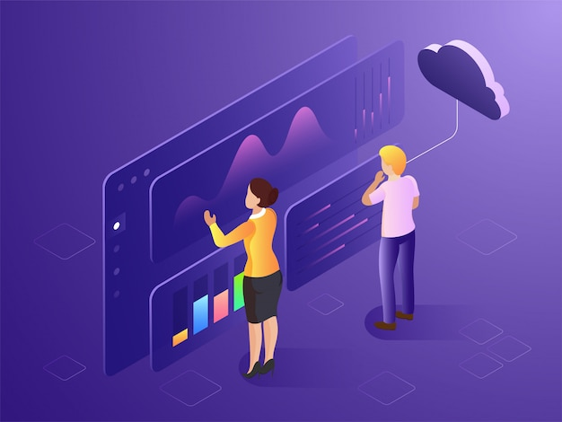 Pessoas de negócios ou análise analítica os dados para a empresa