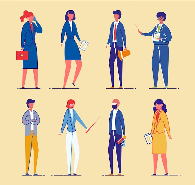 Pessoas de negócios ou trabalhadores de escritório, conjunto de gerentes.