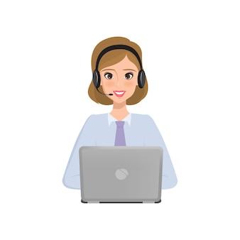 Pessoas de negócios para chamar o centro. caráter de serviço ao cliente
