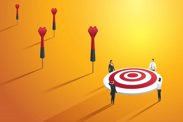 Pessoas de negócios perdendo o alvo e não obtendo sucesso. ilustração