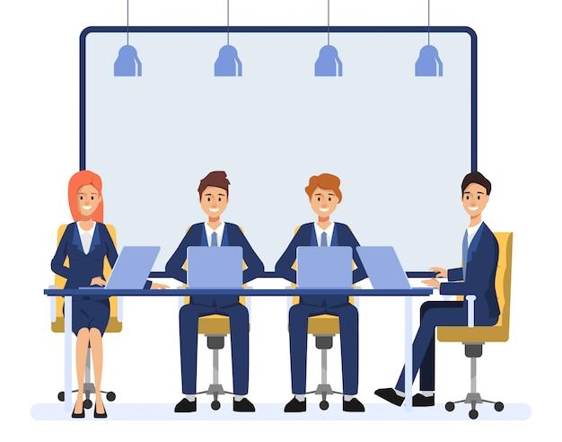 Pessoas de negócios personagem de colega de trabalho em equipe. animação cena pessoas seminário comunidade.