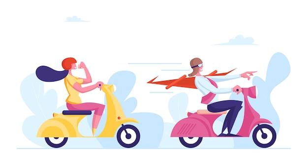 Pessoas de negócios, personagens masculinos e femininos, andando de scooters