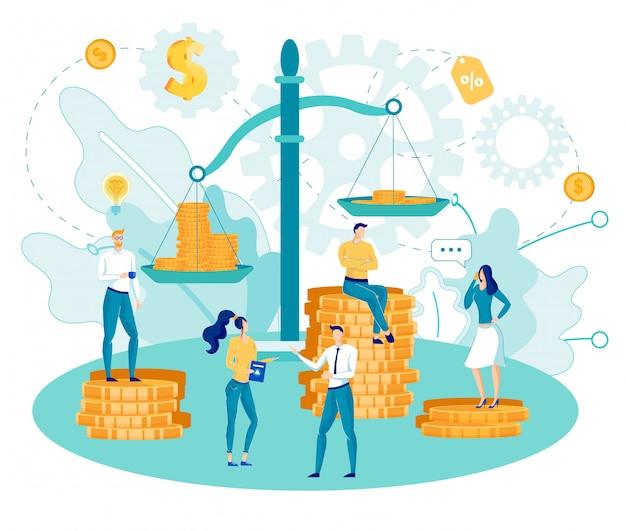 Pessoas de negócios pesam renda em moedas em escalas.