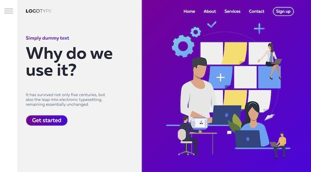 Pessoas de negócios, planejamento de tarefas de trabalho, texto de exemplo.