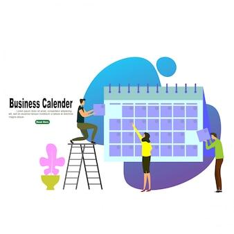Pessoas de negócios planejamento e agendamento de calendário de operação