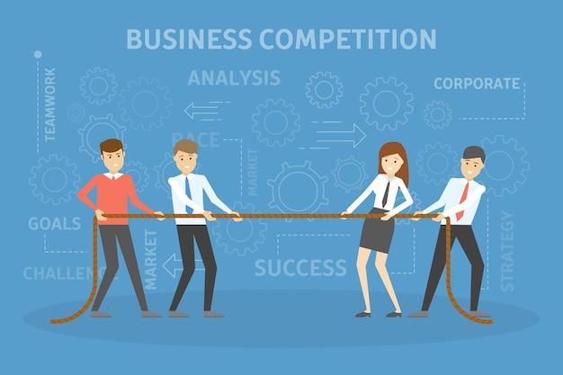 Pessoas de negócios puxam a corda. ideia de competição empresarial. luta da equipe pelo sucesso. ilustração vetorial plana