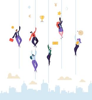 Pessoas de negócios que escalam para o sucesso. personagens de empresário e mulher de negócios tentando chegar ao topo. realização de metas, liderança, conceito de motivação.