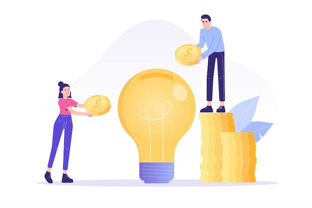 Pessoas de negócios que investem dinheiro em grande ideia ou startup de negócios