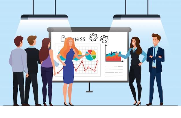 Pessoas de negócios, reunião com apresentação de infográficos