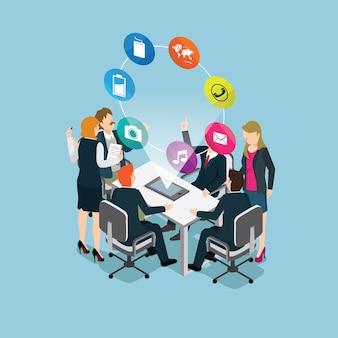 Pessoas de negócios, reunião com tecnologia moderna