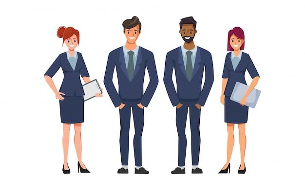 Pessoas de negócios se adequam ao personagem no trabalho em equipe pessoas corporativas para contratação de emprego. Vetor Premium