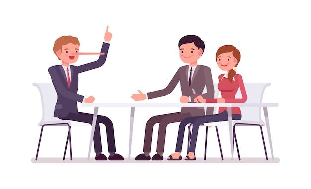Pessoas de negócios, sentado a mesa, o homem é um mentiroso