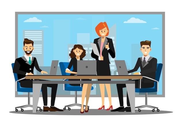 Pessoas de negócios, tendo o encontro no escritório moderno.