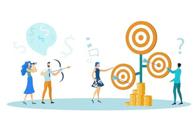 Pessoas de negócios, tiro a arco e ganhar dinheiro.
