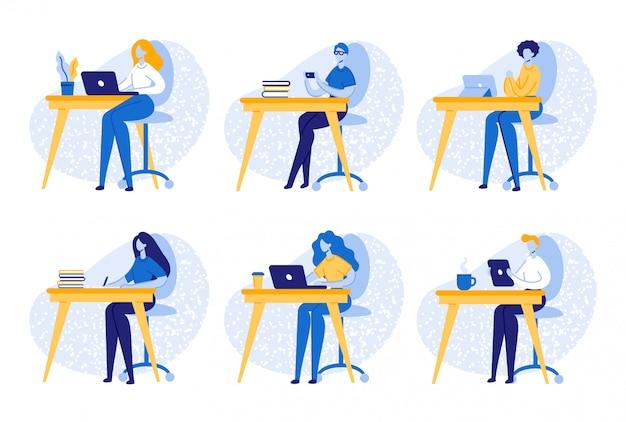 Pessoas de negócios, trabalhadores, estudantes no local de trabalho