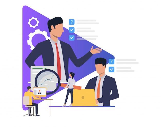Pessoas de negócios, trabalhando e dando tarefas