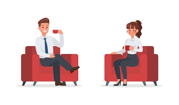 Pessoas de negócios, trabalhando em caráter de escritório