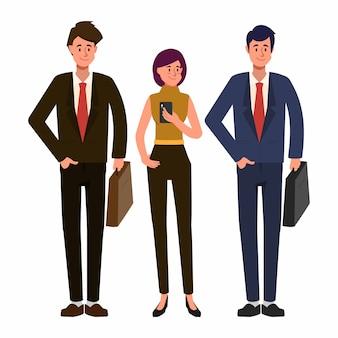 Pessoas de negócios, trabalhando em caráter de trabalho em equipe. empresário e empresária e engenheiro personagem.