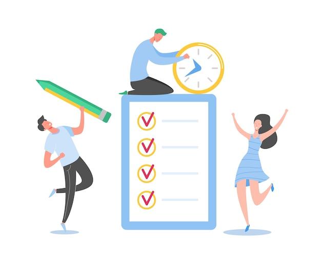 Pessoas de negócios trabalhando juntos com a lista de verificação. minúsculos caracteres completando a lista de tarefas de negócios. homem e mulher com tarefas a fazer documento com caixas de seleção.