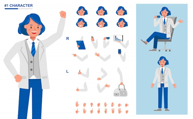 Pessoas de negócios, trabalhando o conjunto de caracteres. crie sua própria pose