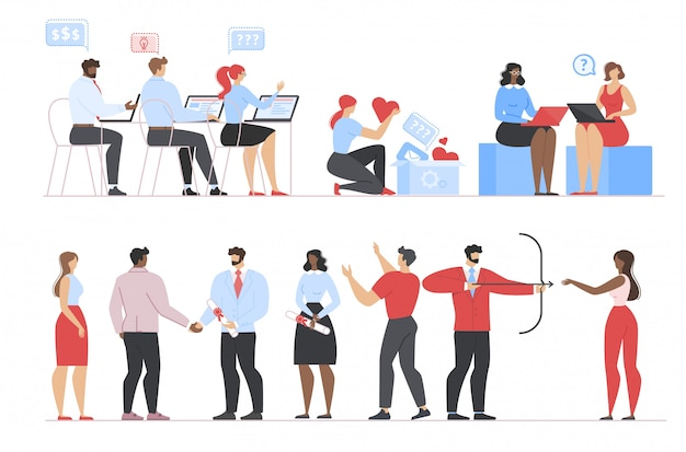 Pessoas de negócios, trabalho, graduação, conjunto de blogs