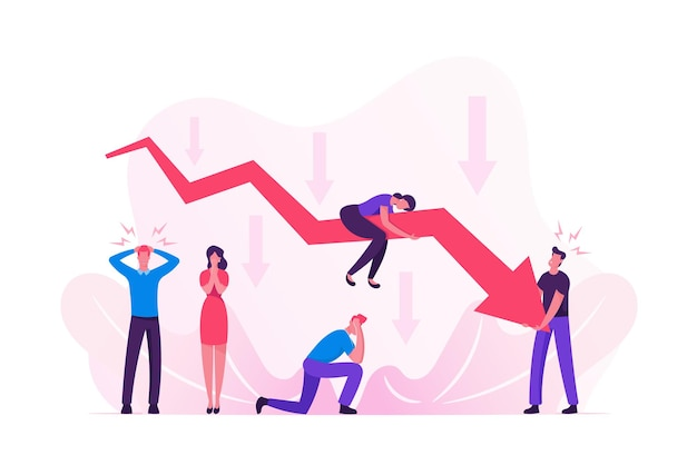 Pessoas de negócios tristes em torno do gráfico de seta vermelha do declínio. ilustração plana dos desenhos animados