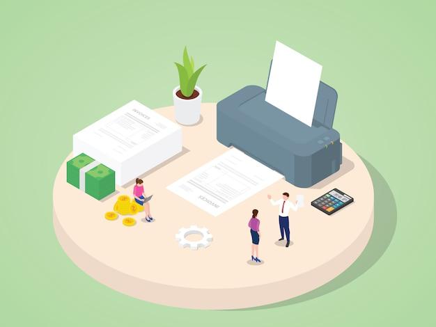 Pessoas de negócios usam faturas de impressão de máquina compra pagamento compra transação documento contábil com estilo isométrico dos desenhos animados 3d plana.