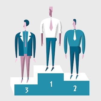 Pessoas de negócios vencedor no pedestal.