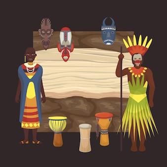 Pessoas de pele negra nativa de tribos africanas e aborígines da áfrica