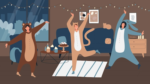 Pessoas de pijama dando uma festa em casa ilustração