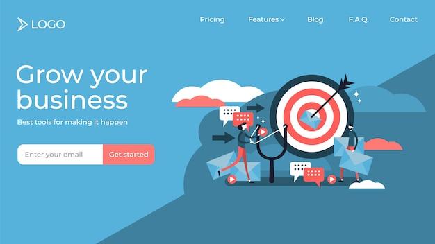 Pessoas de plano marketing direto minúsculas vector design de modelo de página de destino de ilustração