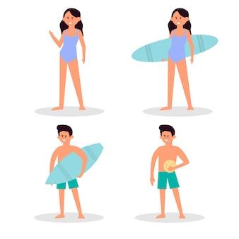 Pessoas de praia. casal férias de férias, banhos de sol na praia e diversão de verão feliz amigos. personagens de viajante, jogar vôlei, surfista surfista