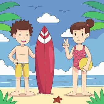 Pessoas de praia com prancha de surf