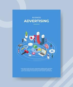 Pessoas de publicidade de negócios em torno de um microfone magnético laptop megafone dinheiro