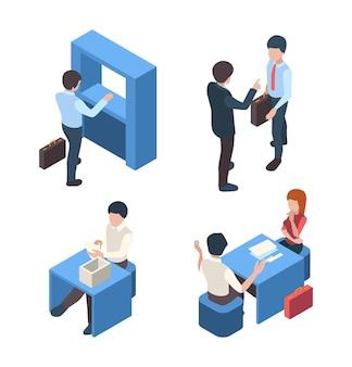 Pessoas de serviço de cliente de coisas de negócios bancários caracteres isométricos de pessoa de recepção de clientes.