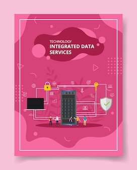 Pessoas de serviços de dados integrados de tecnologia em torno da grande proteção de conexão de servidor