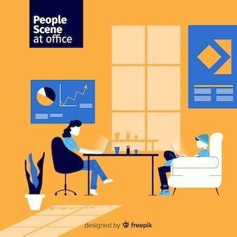 Pessoas de situação no fundo liso de escritório