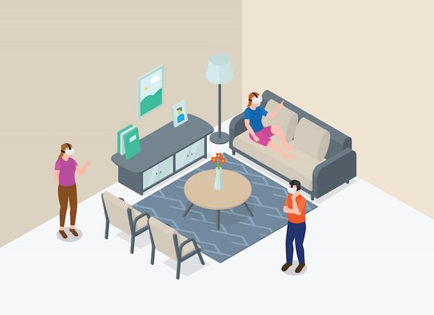 Pessoas de tecnologia vr jogam na sala de estar com o conceito de tecnologia moderna