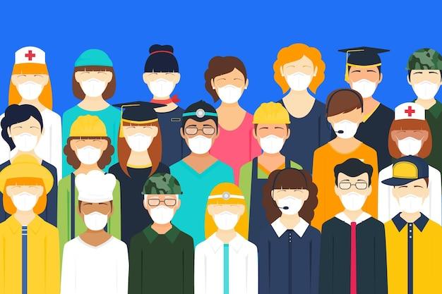 Pessoas de todas as nacionalidades que usam máscaras