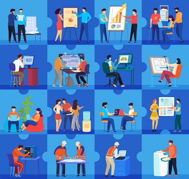 Pessoas de trabalhadores de escritório trabalham ilustração vetorial de conceito plana. locais de trabalho de empresas de escritórios de negócios de desenhos animados e coleção de trabalho em equipe com personagens de negócios