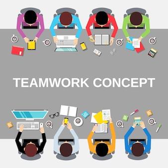 Pessoas de trabalho em equipe vista superior