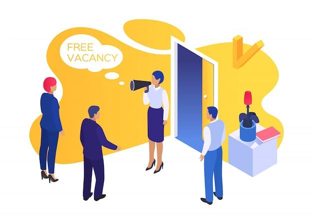 Pessoas de vaga de negócios de trabalho, ilustração. manjedoura conceito de recrutamento, contratação de entrevista para a carreira. pesquisar hr worker