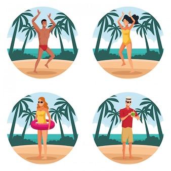 Pessoas de verão e forma redonda de praia