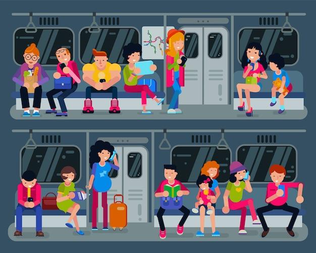 Pessoas de vetor de metrô no metrô e passageiros no metrô usando transporte público urbano