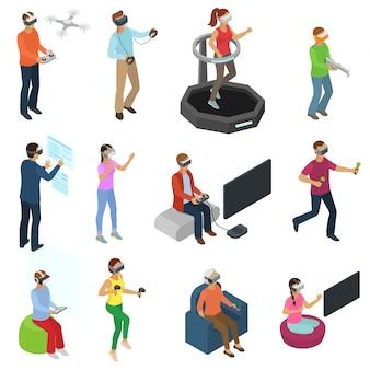 Pessoas de vetor de realidade virtual no jogador de personagem vr com óculos de vr e pessoa jogando vr