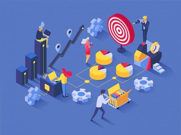 Pessoas de vetor de trabalho em equipe trabalhando em caráter de equipe e empresário colaboram juntos conjunto de ilustração de negócios conceito sucesso solução idéia design cenário estratégia